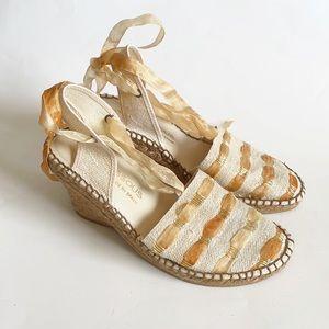 andre assous wedge espadrille ribbon strap sandals
